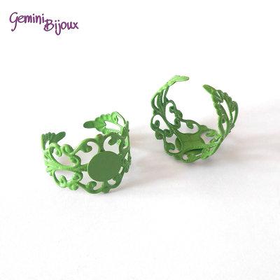Anello filigranato con base per cabochon, verde