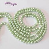 Lotto 20 perle tonde in vetro cerato 6mm verde chiaro