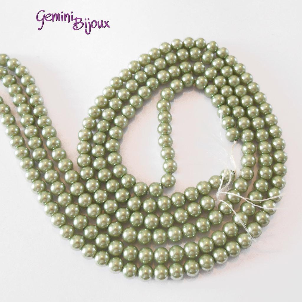 Lotto 20 perle tonde in vetro cerato 6mm verde oliva