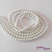 Lotto 20 perle tonde in vetro cerato 6mm bianco
