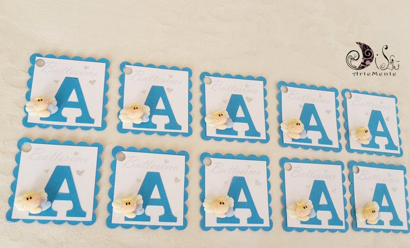 Card Art segnaposto battesimo e comunione etichette angioletto lettera personalizzabile