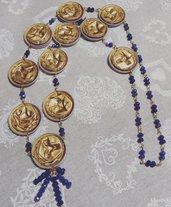 Collana capsule caffè dorate e cristalli blu