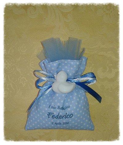 Sacchetto bomboniera segnaposto con gessetto e stampa personalizzata nascita e battesimo bimbo