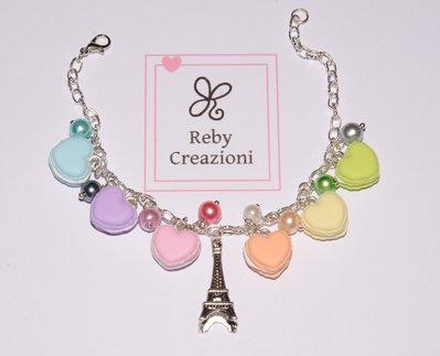 Bra010- Braccialetto Macaron arcobaleno cuori