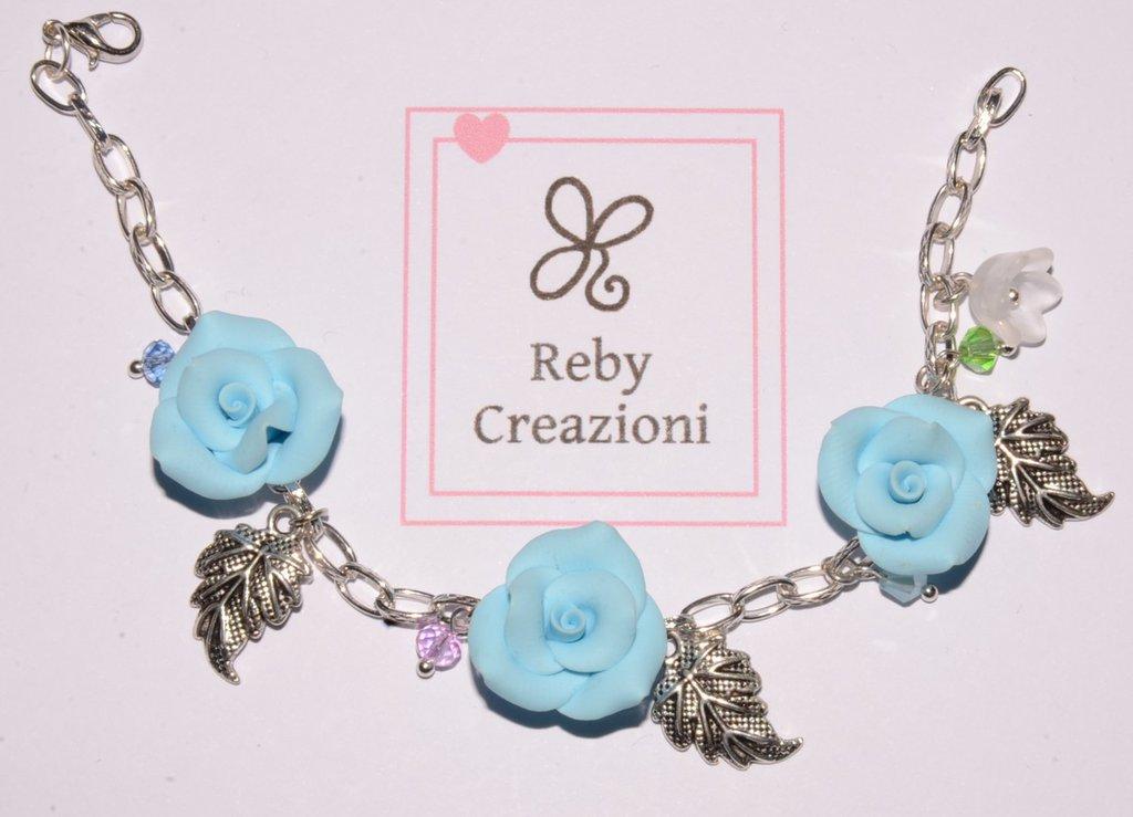 Bra011- Braccialetto rose celesti