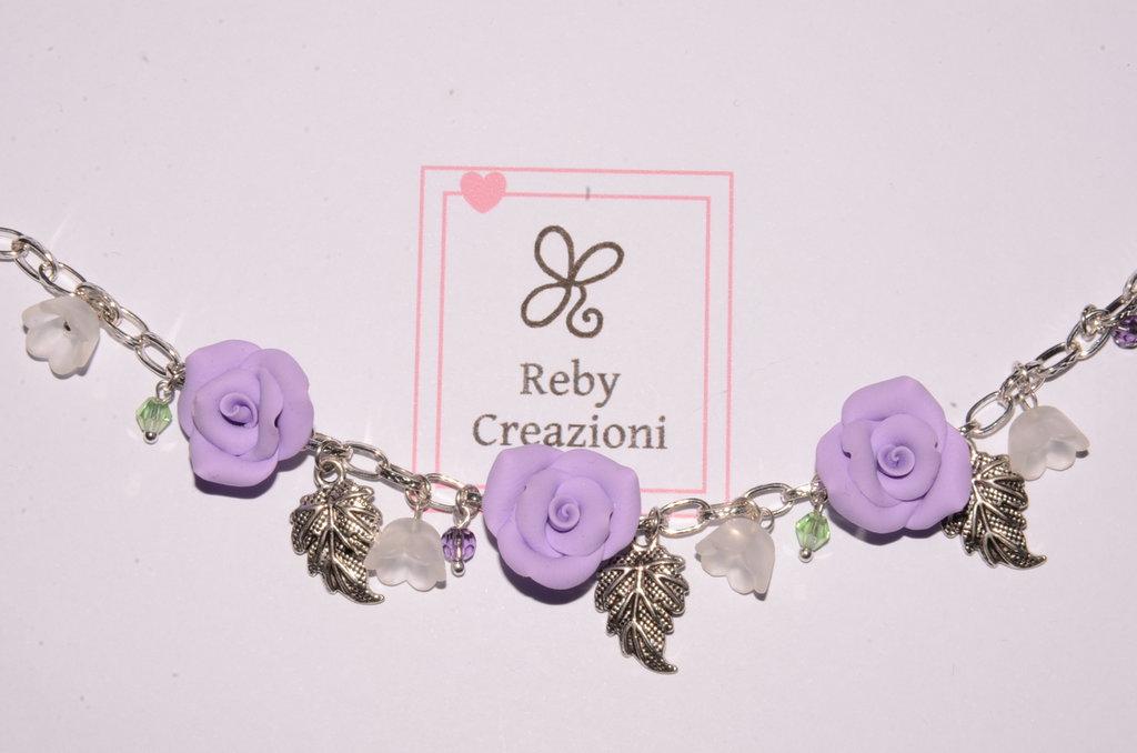 Bra012- Braccialetto rose lilla