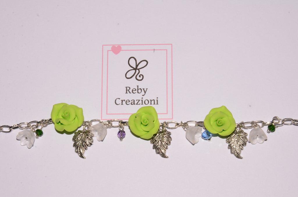 Bra015- Braccialetto rose menta