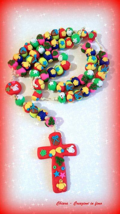 Rosario in fimo fatto a mano con motivi pasquali in rilievo - creazioni personalizzabili Gli originali Idee regalo donna