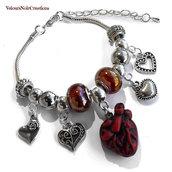 Bracciale cuore anatomico perle a foro largo