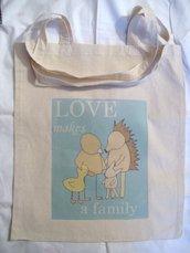 Borsa di cotone con stampa - Love makes a family