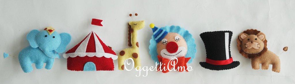 Set 6 personaggi del circo in feltro confezionati a mano per le vostre bomboniere