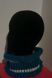 Sciarpa scaldacollo azzurro e panna fatto a mano lana adulto unisex uomo donna
