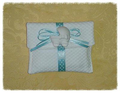 Bustina bomboniera portaconfetti color tiffany con gessetto profumato per nascita e battesimo