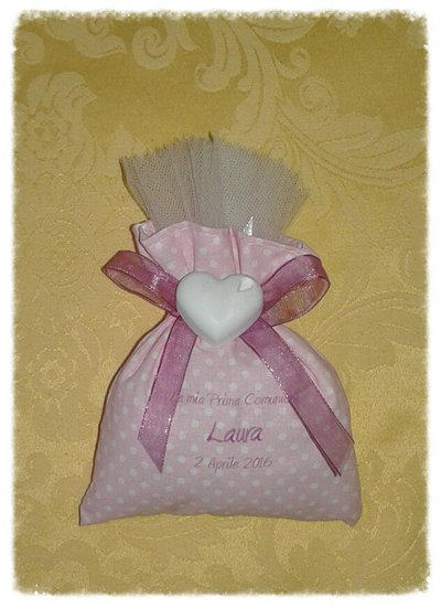Bomboniera sacchetto con gessetto e stampa personalizzata prima comunione