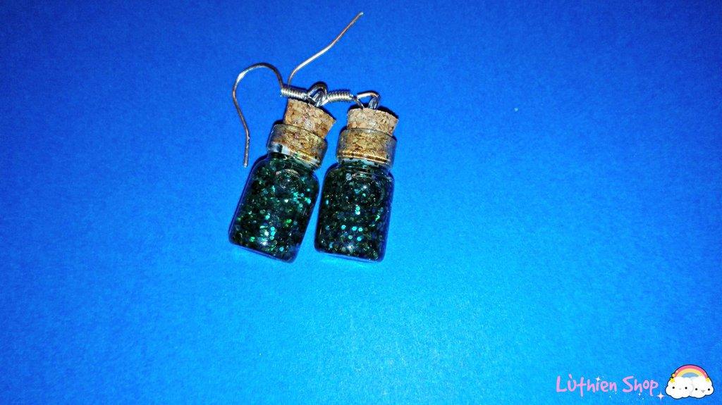 Orecchini boccette glitter verde