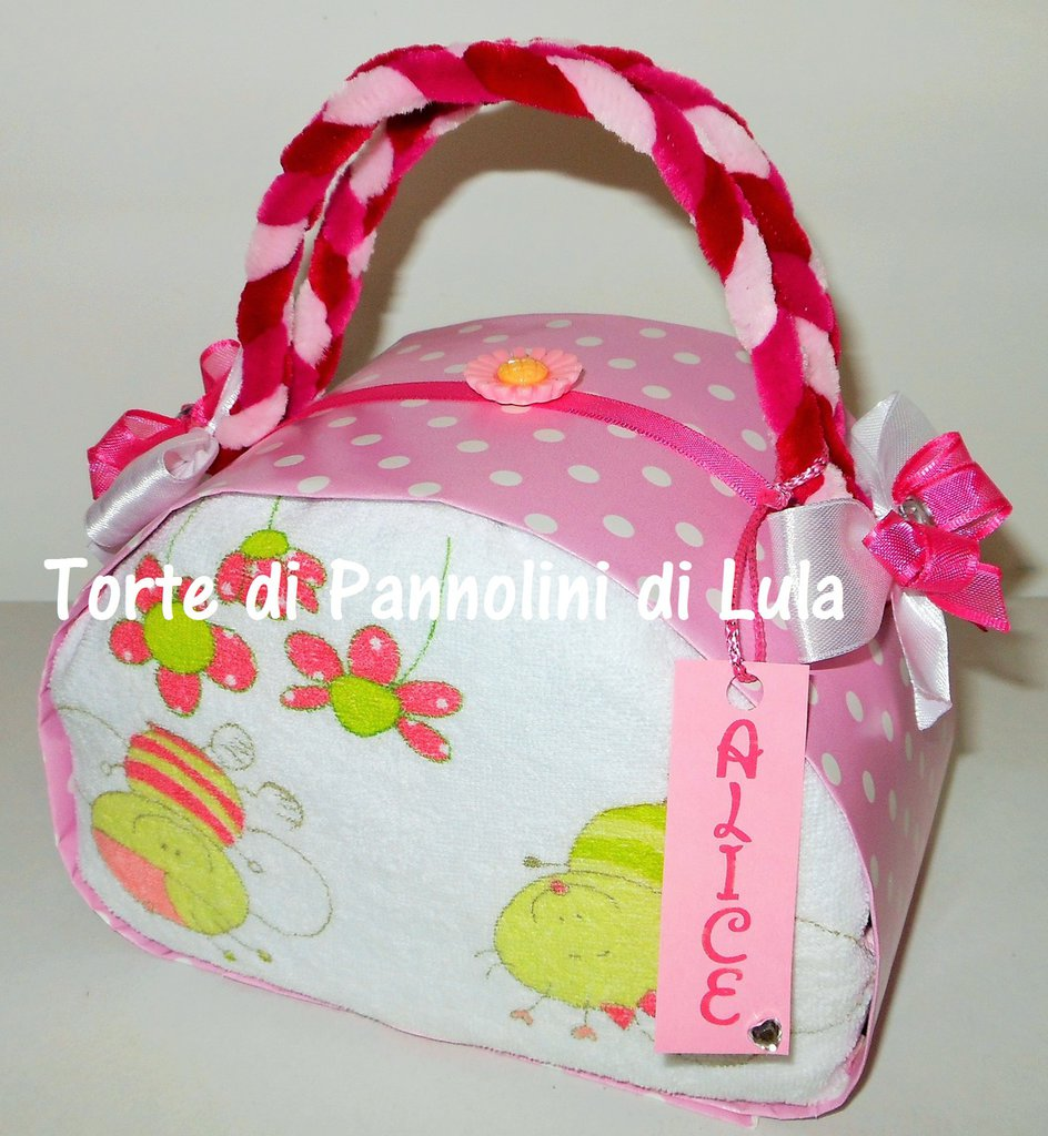 Torta di Pannolini Pampers Borsa - idea regalo, originale ed utile, per nascite, battesimi e compleanni