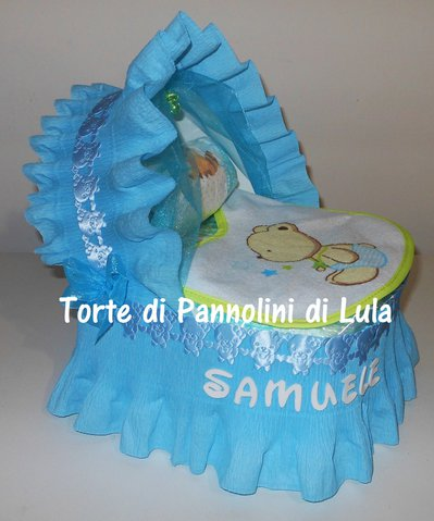 Torta di Pannolini Pampers Carrozzina / Culla - idea regalo, originale ed utile, per nascite, battesimi e compleanni