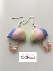 Orecchini ombrellini rosa verde country blu