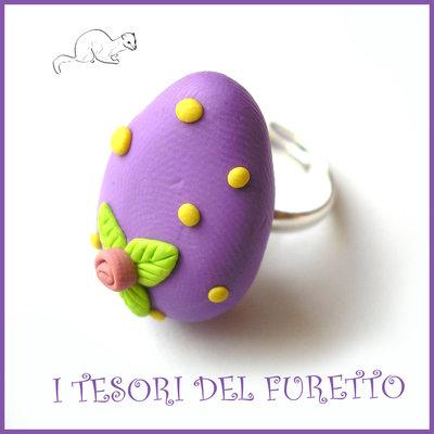 """Anello """" Ovetto di Pasqua """" lilla uovo cioccolato zucchero idea regalo bambina bijoux kawaii"""