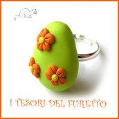 """Anello """" Ovetto di Pasqua """" verde fiori arancio uovo cioccolato zucchero idea regalo bambina bijoux kawaii"""