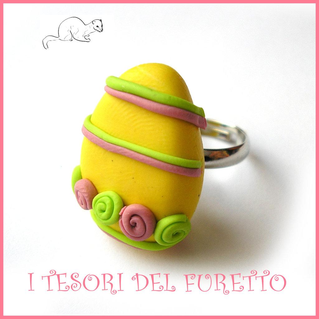 """Anello """" Ovetto di Pasqua """" giallo roselliner rosa e verdi uovo cioccolato zucchero idea regalo bambina bijoux kawaii"""