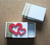 Coppia Scatoline SegnaPosto - Mini Bomboniera Porta Confetti per Matrimonio - *GoldLove* (2pz)