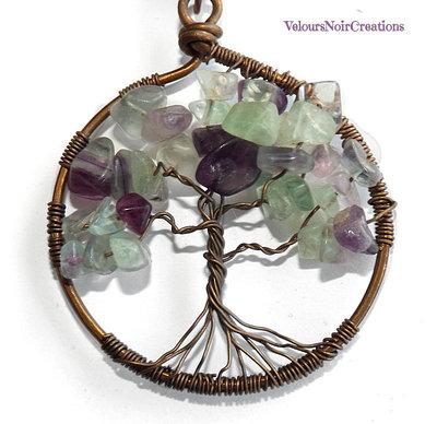 Collana wire albero della vita rame e pietre dure fluorite
