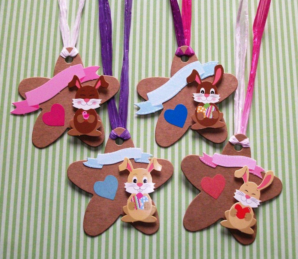 Pasqua Collection! Lotto Tag - Etichette Chiudipacco per Regali e prodotti HandMade - Coniglietti di Pasqua (4pz)