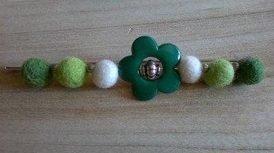 Spilla inverno fiore verde piccolo