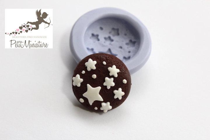 Stampo Silicone Biscotto 1 Stampo 2cm-Stampo Gioielli Fimo kawaii-Stampo per Fimo Resina Cera Gesso pasta di zucchero ST27