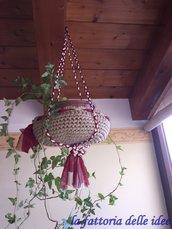Portavaso da fiori in fettuccia color sacco