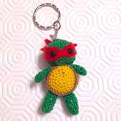 Tartaruga ninja Raffaello amigurumi, portachiavi, fatta a mano all'uncinetto