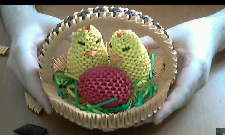 Basket soprammobile centrotavola pasqua uova pulcini easter