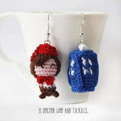 Doctor Who amigurumi orecchini uncinetto, 11 dottore, Matt Smith