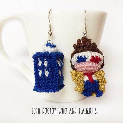 Doctor Who amigurumi orecchini uncinetto, 10 dottore, David Tennant