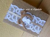 Quaderno agenda shabby chic in tela juta con pizzo bianco ,  roselline in tessuto e fiocco, idea regalo.