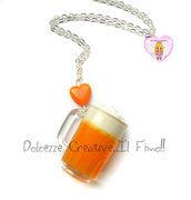 Collana Con boccale di Birra e cuore arancione - idea regalo ragazza