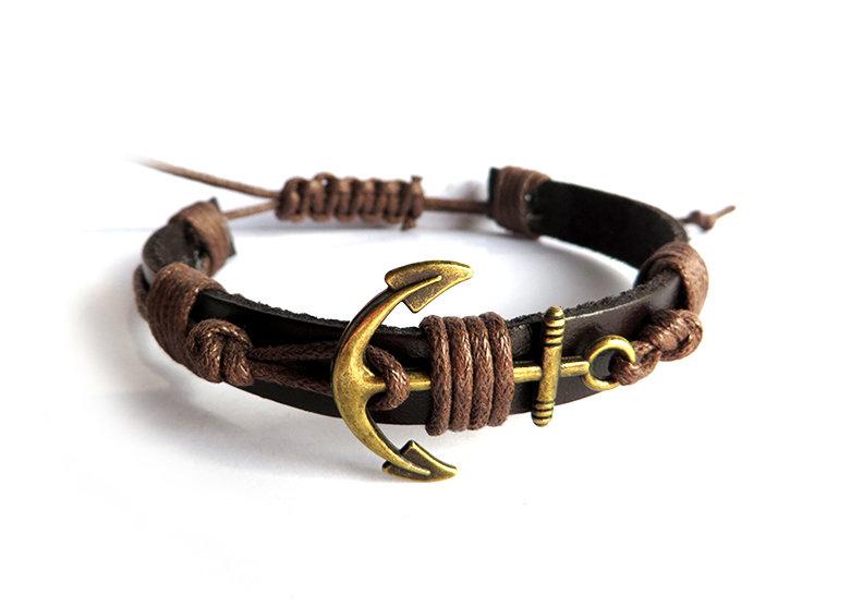 Bracciale nautico uomo in pelle e corda con Ancora in metallo in bronzo braccialetto