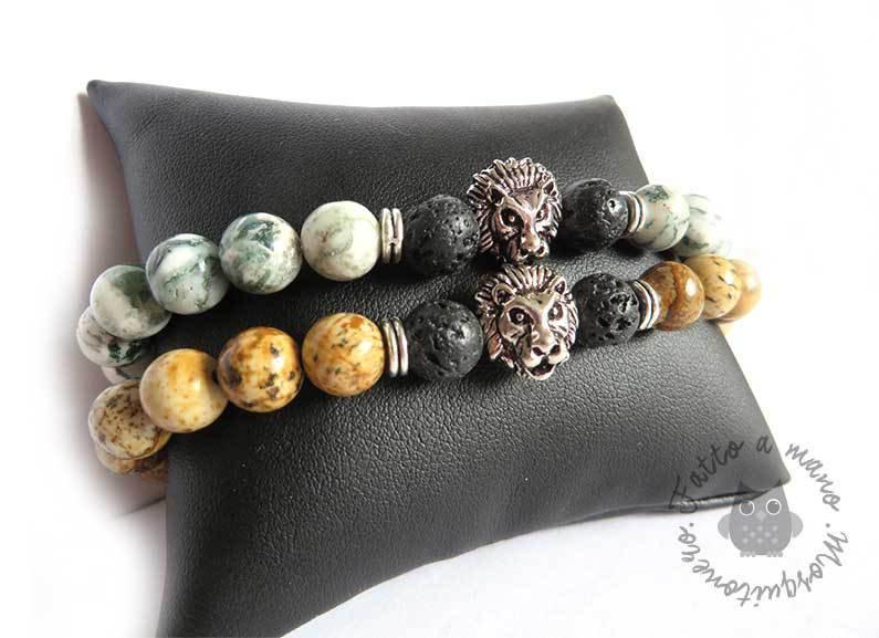 Bracciale perla pietra e lava TESTA DI LEONE uomo braccialetto elastico