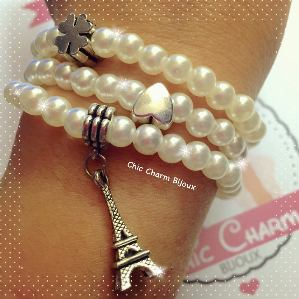 Braccialetti perle con ciondolo Paris
