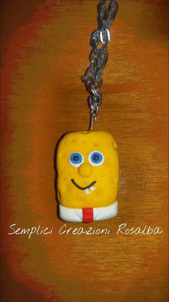 Collana in fimo Spongebob, interamente realizzata a mano