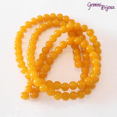 Lotto 20 perle tonde in vetro imitazione giada 8mm giallo-arancio