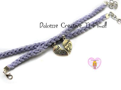 Coppia Braccialetti Amicizia - Best Friend intrecciati lilla handmade