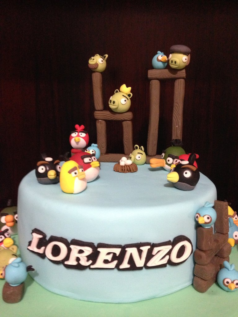 angry birds topper  decorazioni per torte in pasta di zucchero