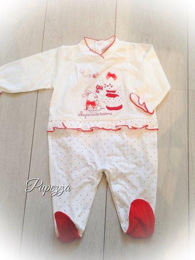 """tutina neonato""""teneramente insieme """" in fresco cotone bianca e rossa"""