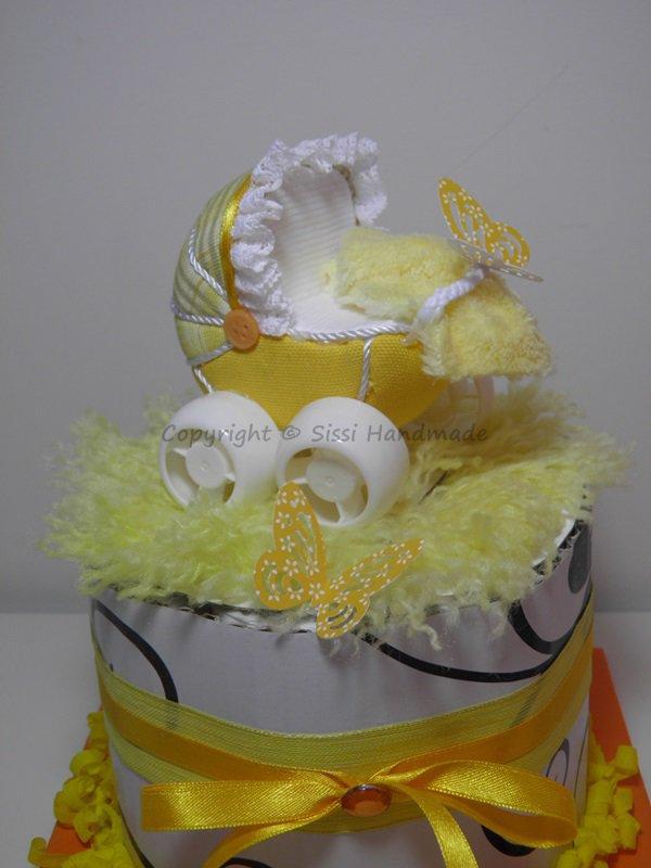 Mini torta bambini unisex giallo con accessori bambini