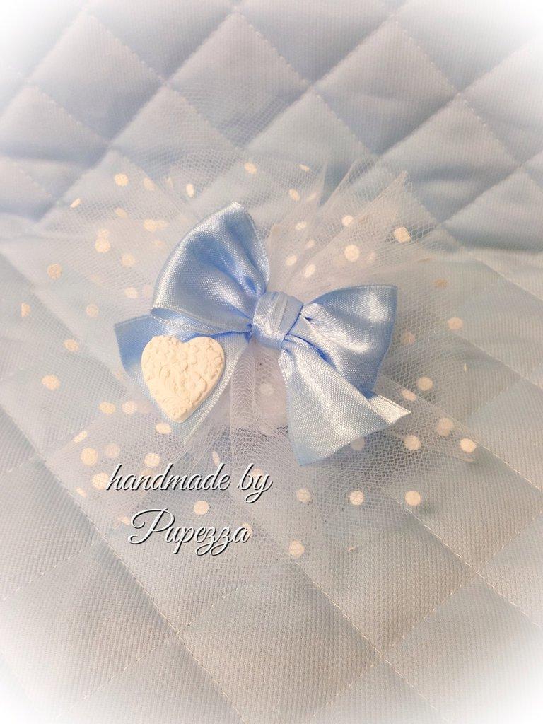 bomboniere in tulle floccato bianco /azzurro