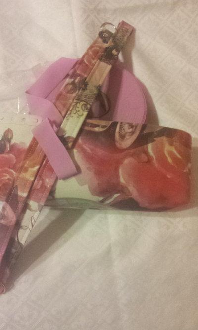 kit Fondo - coppia manici in tessuto fantasia  e fettuccia  per borse