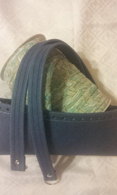 kit Fondo - coppia manici in ecopelle effetto jeans , fettuccia  per borse