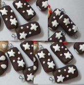 Lotto 10 ciondolo fimo merenda pan di stelle handmade